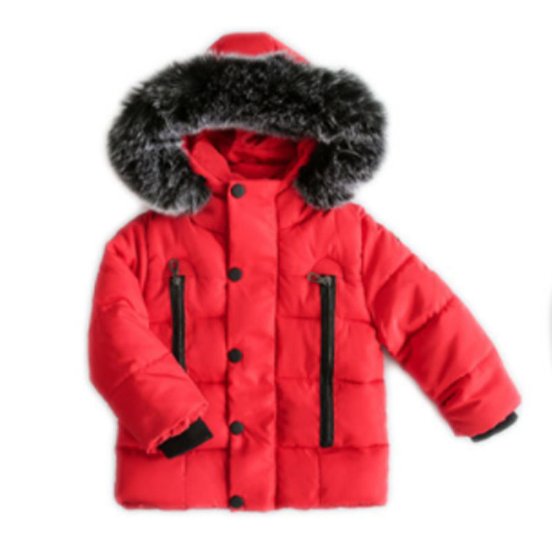 Winter Childrens coat Fur Collar Hooded kids clothes Baby Boys Girls Thickened Down Jacket 2021 Y09.12 4