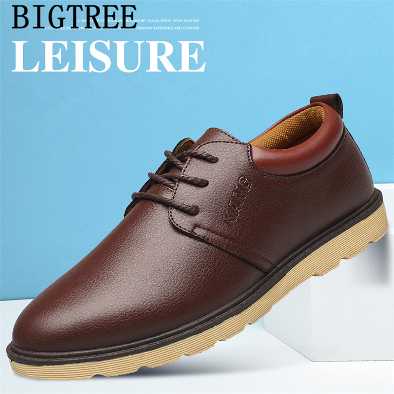 Leather Shoes Men Black Sneakers