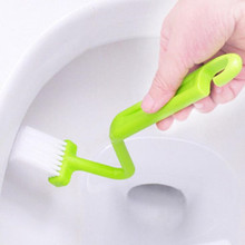 1Pc S Shape Toilet Cleaning Brush Portable Scrubber S-type Cleaner Clean Bent Bowl Handle randomly sent