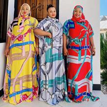 New Style African Loose Women's Dashiki Nigeria Fashion SILK 100% Material With Scarf Print Long Dress   Free Size