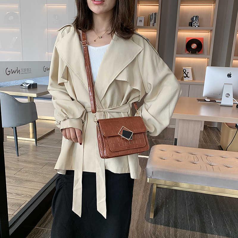 Pedra do Teste Padrão PU Couro Crossbody Sacos Para As Mulheres 2019 Designer de Ombro Bloqueio Saco Do Mensageiro Da Senhora Da Forma Bolsas de Viagem
