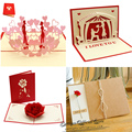 Всплывающая 3d-открытка, подарок на день Святого Валентина, свадебная открытка, приглашения, открытки, юбилей для нее, особенно для вас, откры...