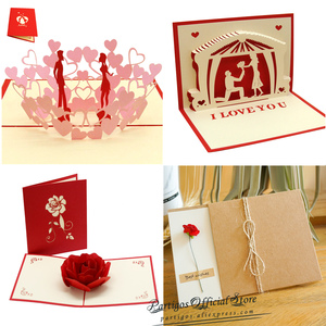 3D Pop UP Cards Valentines Day Gift Postcard Wedding Invitation Greeting Cards Anniversary for Her especially for you Love Card