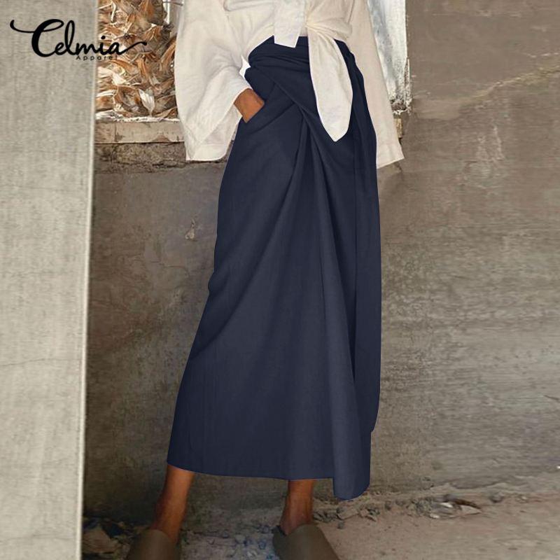 Femmes Harajuku jupe Celmia femmes Vintage coton décontracté pansement longues jupes printemps été ample maxi jupes 5XL grande taille jupe