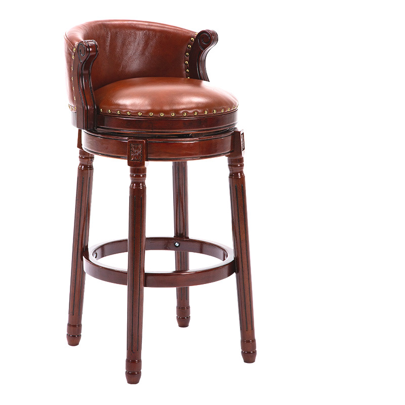 European Solid Wood Bar Chair Home American Backrest High Stool Retro Leather Rotating Bar Chair