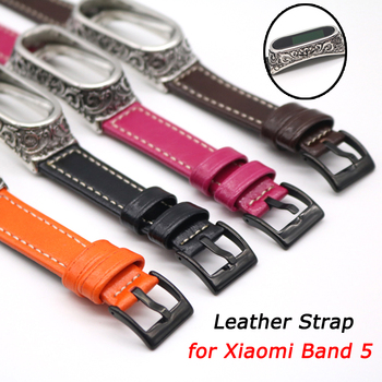 For Mi Band 5 Strap Retro Leather Watch Band for Xiaomi Mi Band 4 Bracelet Wristband Pulseira for Mi Band 5 NFC Smart Accessory