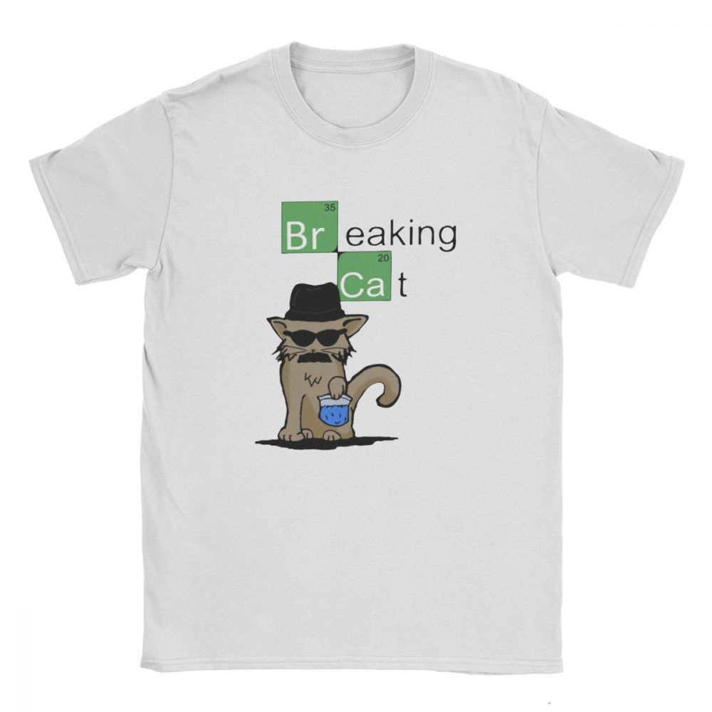 Tyburn Men's Breaking Cat Breaking Bad Walter White T Shirts Heisenberg Pure Cotton Clothing Leisure Short Sleeve O Neck T-Shirt image