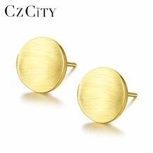 Czcity Мода круглые серьги гвоздики для Для женщин минималистский