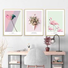 Pink Flamingos Wall Art Canvas Painting Rose Poster Print Abstract Nordic Pictures For Living Room Decor