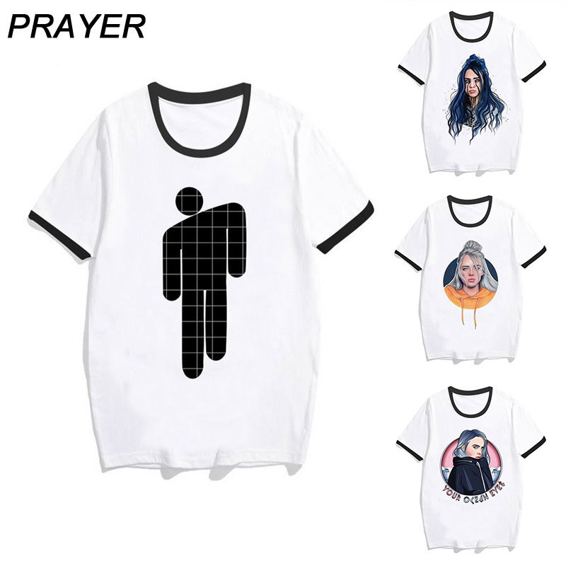 Billie Eilish Women T Shirt Print Loose White Short Sleeve Clash Color Collar O-Neck Funny T-Shirt Women Tops Casual Streetwear