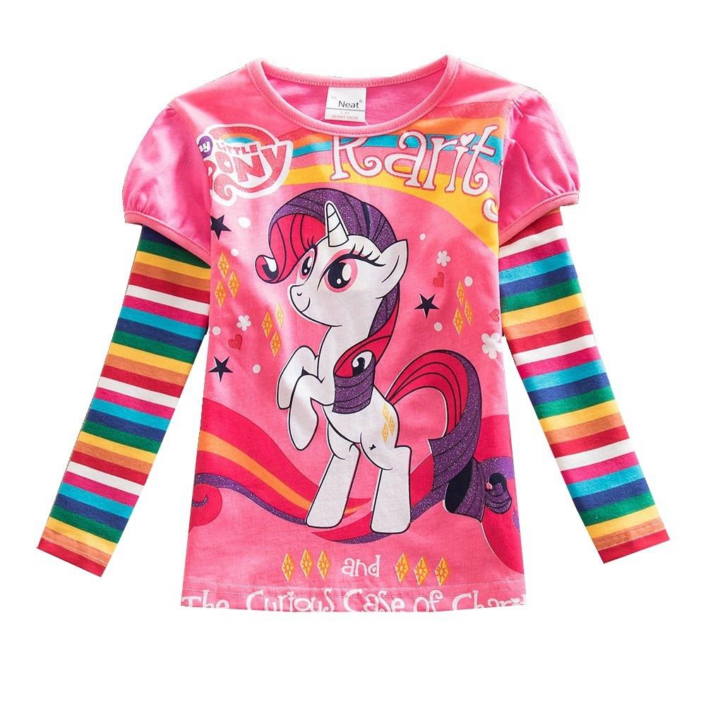 Girl T-Shirt Tops Children's Clothes Long-Sleeve Little-Pony Cartoon Print Baby Cotton