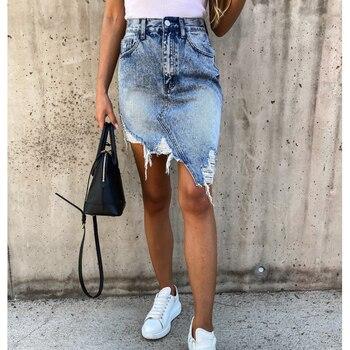 Ripped Denim Skirts Womens Asymmetrical Pencil Jean Skirt Ladies High Waist Casual Distressed Slim Fit Package Hip Midi