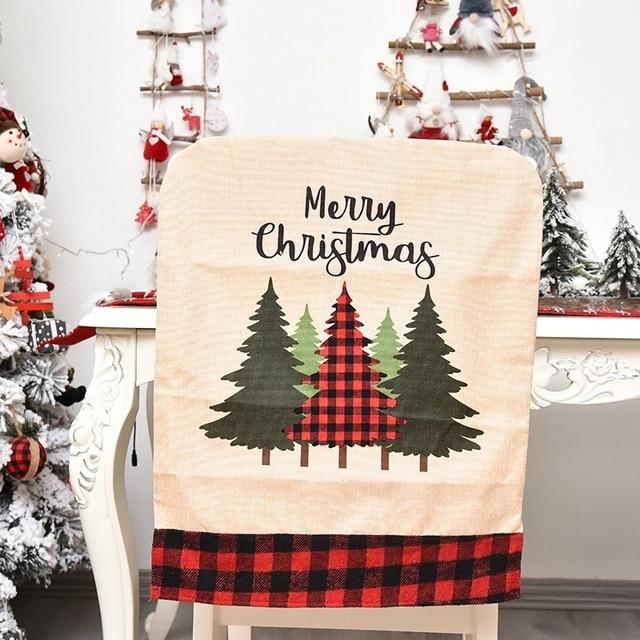 Фото 1 шт льняная рождественская крышка стула для обеденного рождественского