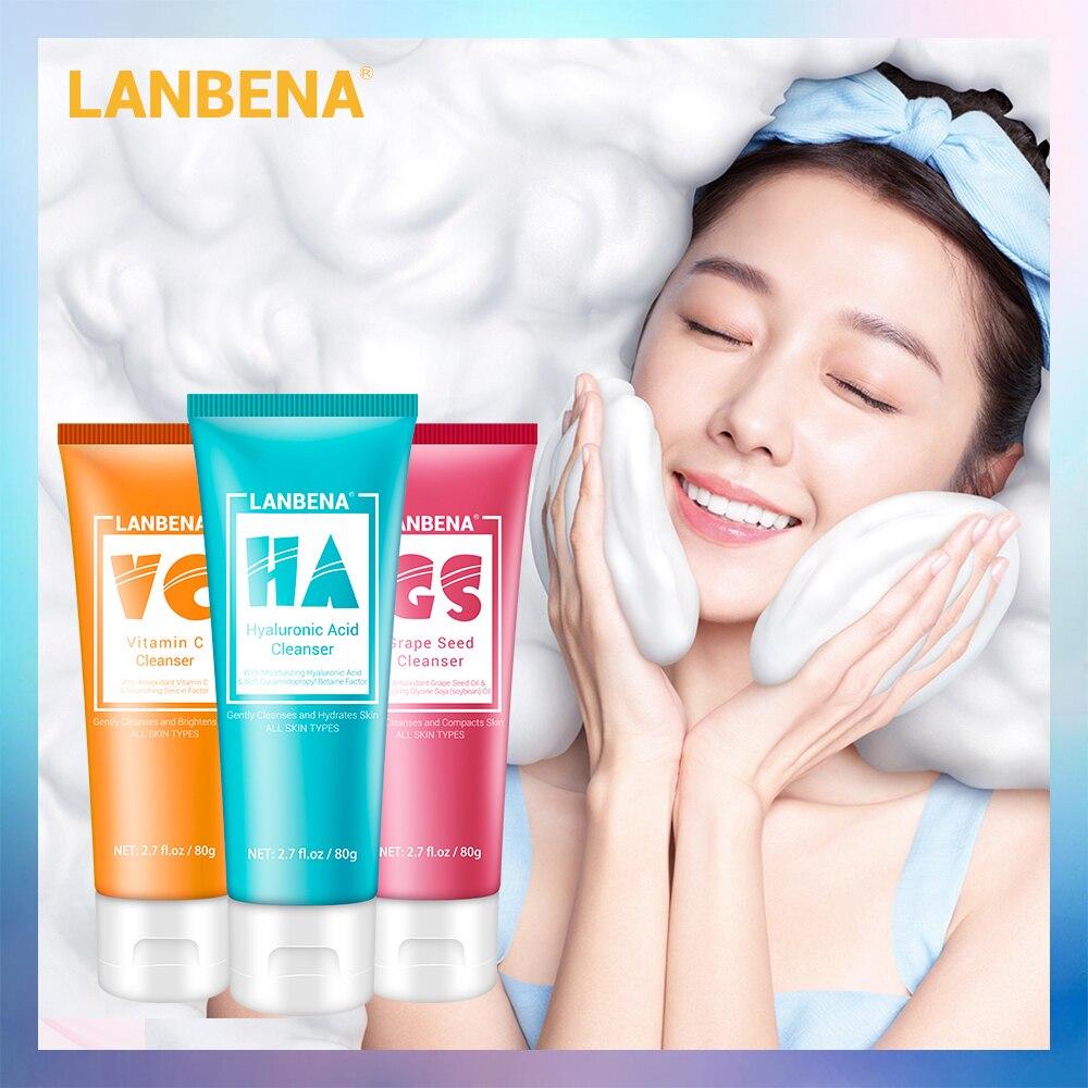 LANBENA Facial Cleanser Face Wash Foam Face Cleansing Face Scrub Moisturizing Deep Cleansing Oil Control Shrink Pore Facial Care