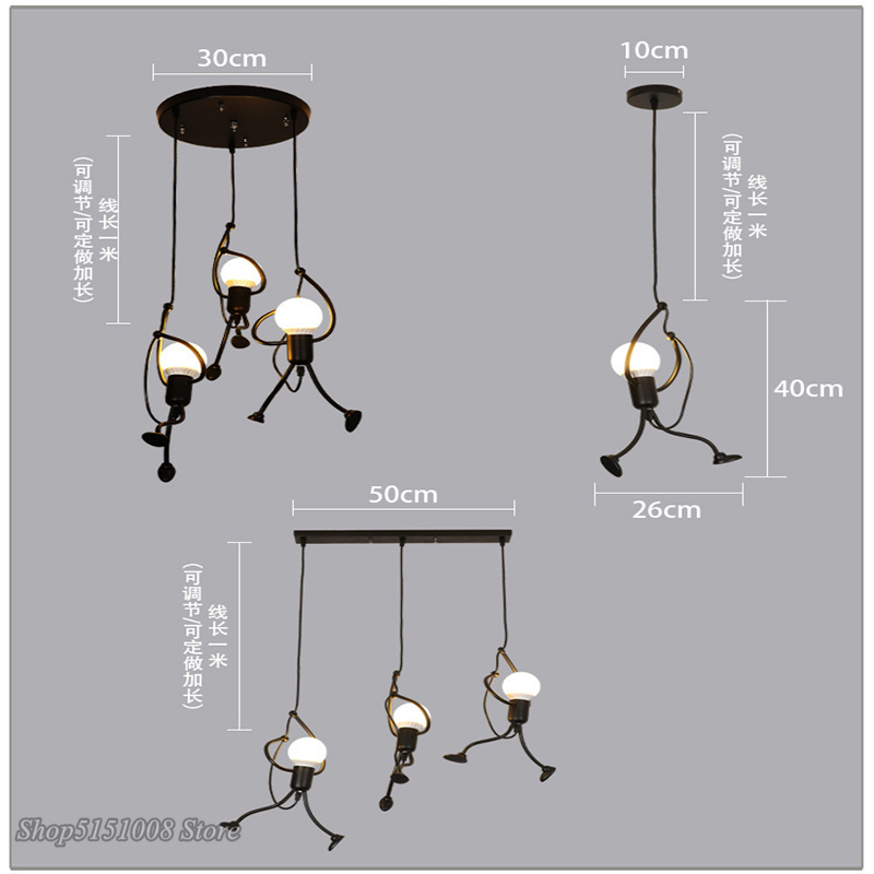 cheapest 2 Pieces Industrial Pendant Light Vintage pendant Lamp Retro handing lamp American restaurant Living room dining room decoration