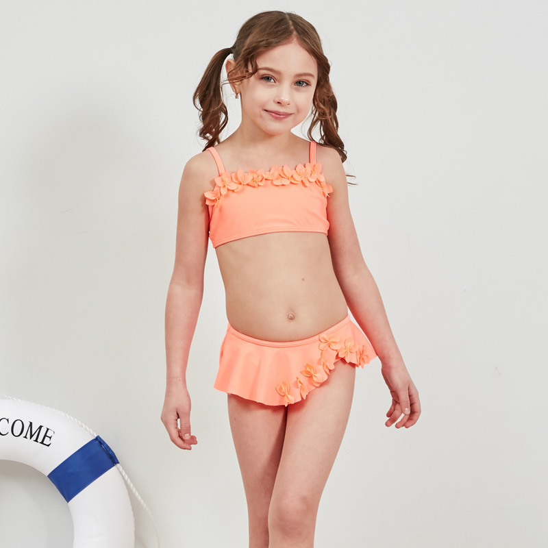 19 Cross Border For New Style Hot Sales Split Type Bikini Bathing Suit Solid Color Bow Girls Baby Girls KID'S Swimwear