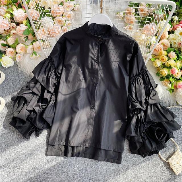 Gagarich Women Blouse Elegant 2020 Vintage Top Female Design Sense European Layer Trumpet Sleeve Long Sleeve Wild Shirt 4