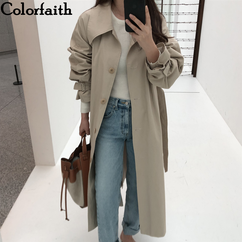 Colorfaith New 2019 Autumn Winter Women Trench Sashes Lace Up Korean Style Elegant Casual Long Coat Outerwear JK181