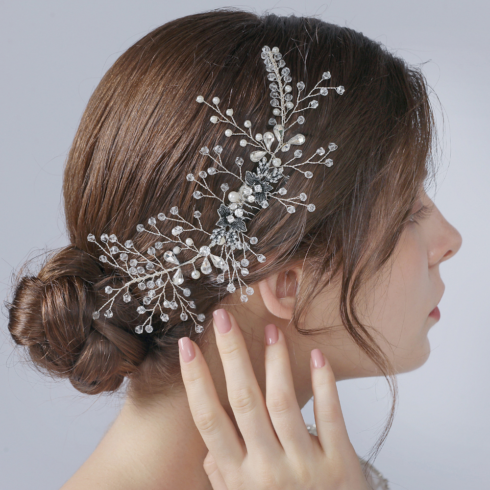 TRiXY H02 Wedding Hair Comb Decorative Hair Comb Flower Hair Comb Crystal Hair Clip Rhinestone Bridal Headpieces Hair Clips