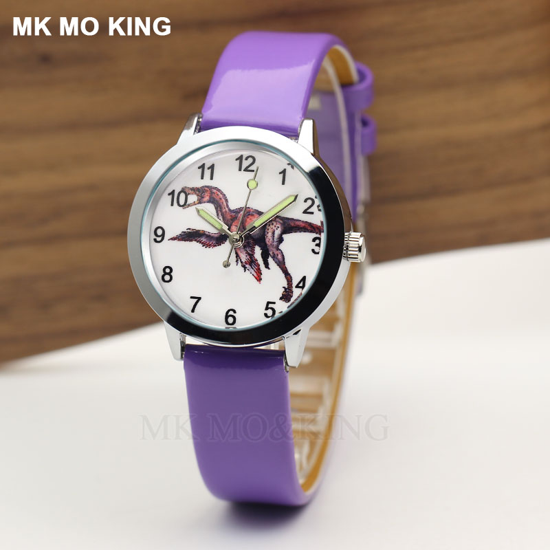 Boys Watch Kids Cute Dinosaur Diamond Waterproof Genuine Leather Girls Wristwatch Lovely Kid Children Watches Students Clock
