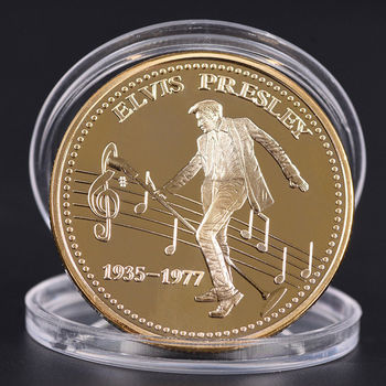 Elvis Presley Silver Gold Commemorative Coin Limited Edition 1935-1977 The King Rock Pop Popular American Style Coins Gift image