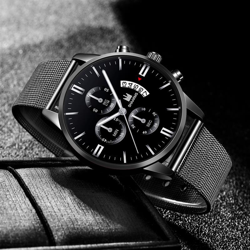 Fashion Men Black Sport Watch Luxury Mesh Band Stainless Steel Quartz Military Watches New Business Man Wristwatch Date Clock