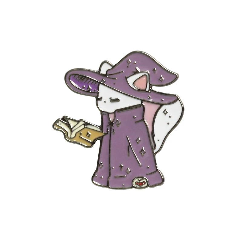 Badges De Dessin Anime Mignon Sorcier Chat Broches Pour Les Femmes Assistant Kitty Lecture Livre Magique Epinglette Email Broches Sac A Dos Accessoires Aliexpress