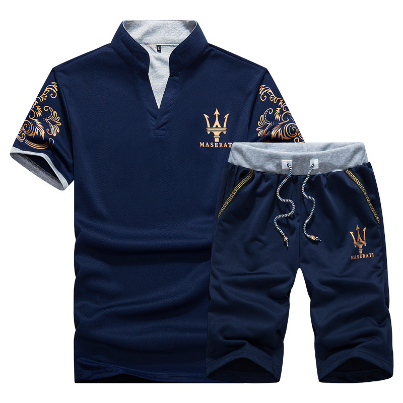 2018 Summer Men New Style Sports Fitness Short Sleeve T-shirt + Short Shorts Set A Set