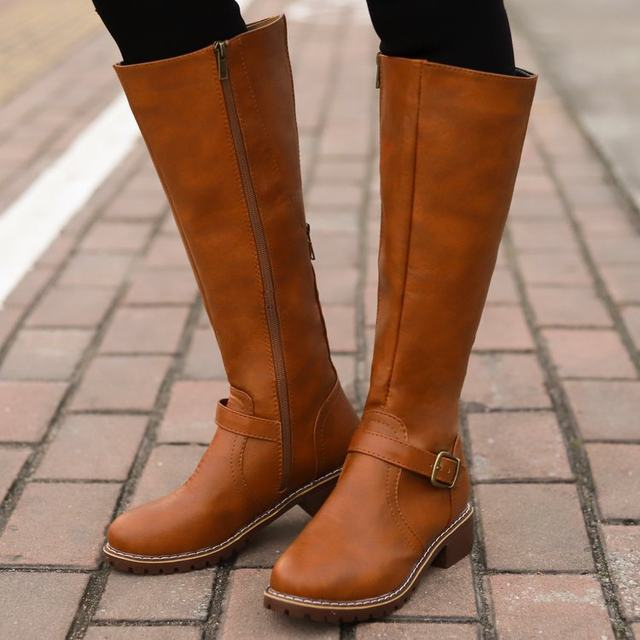 2019 Knees Square Heel Boots Women PU Leather Suede Matte Boots Slip on Zapatos De Mujer Solid Riding Knight Boots Winter Shoes 21
