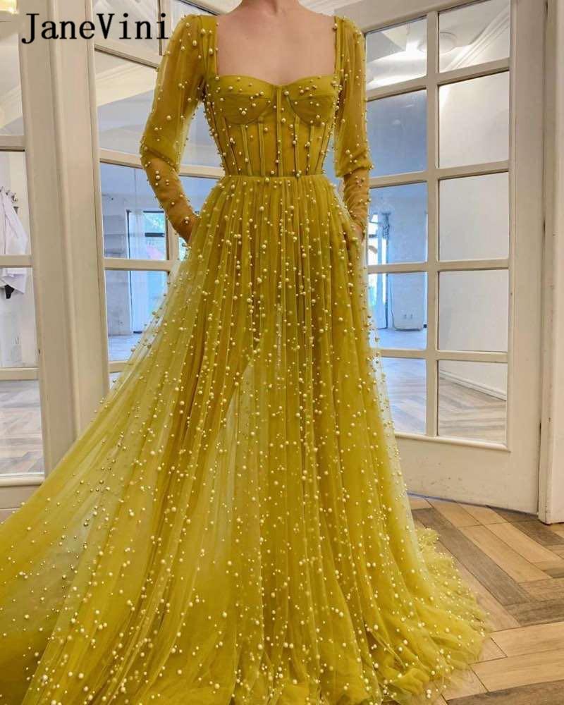 JaneVini Sexy A Line Dubai Long Sleeves Evening Dresses Strapless Full Pearls Backless Plus Size Women Arabic Dress Lange Jurken