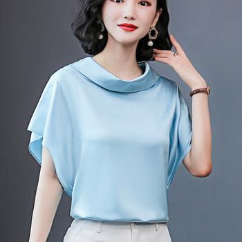 Koreański jedwab kobiety bluzki koszula kobiety satynowa bluzka topy kobieta solidna jedwabna bluzka damska luźna Blusas Mujer De Moda tanie i dobre opinie BIBOYAMALL guzik CN (pochodzenie) Rękaw w kształcie skrzydła nietoperza SILK Stretch Spandex Stałe Pani urząd REGULAR
