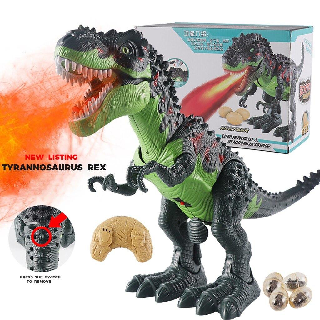 controle remoto dinossauro robo andando brinquedo com som luz brinquedos educativos spray de fogo dragao eletrico