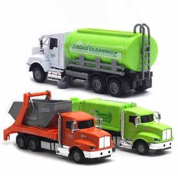 Kids Simulation Inertia Garbage Truck Sanitation Car Model Toys With Three Trash Diecast Toys for Children Puzzle Toy image