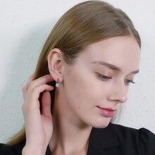 Black Awn Лидер продаж, женские серьги-кольца из натурального 925 пробы серебра, ювелирные изделия из черной шпинели I119