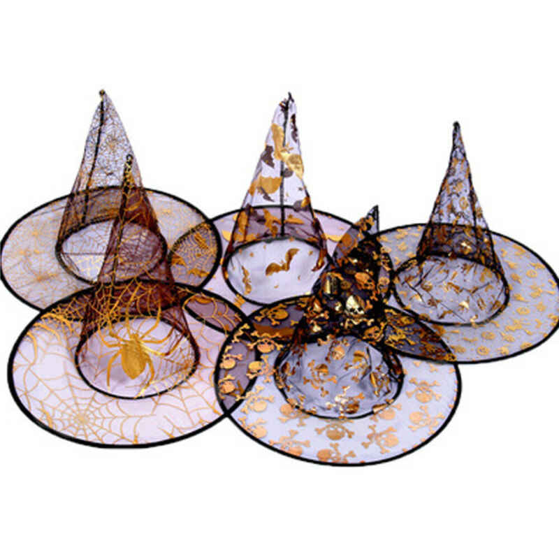 Pudcoco Kids Black Cloak Cap Wicked Witch Hat Gold Patterned Party Fancy Dress Halloween Accessories