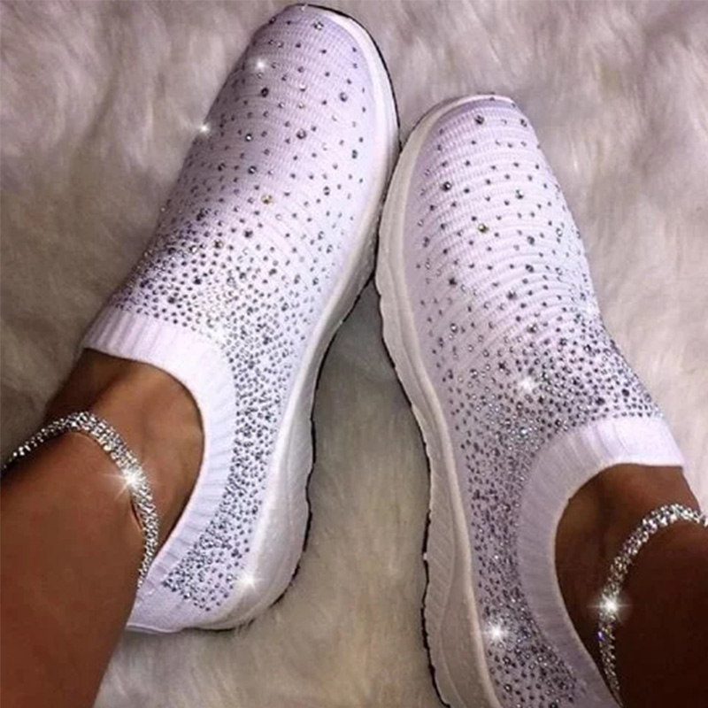 MCCKLE Women Sneakers Flat Vulcanized Shoes Knit Ladies Slip On Woman Glitter Crystal Loafer Women's Casual Shoes Female New