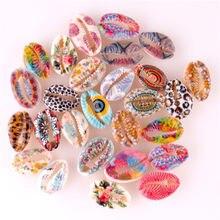 20 pces impresso cowrie concha grânulos nenhum furo/undrilled colorido para diy jóias componentes encontrando fazer colares pulseiras