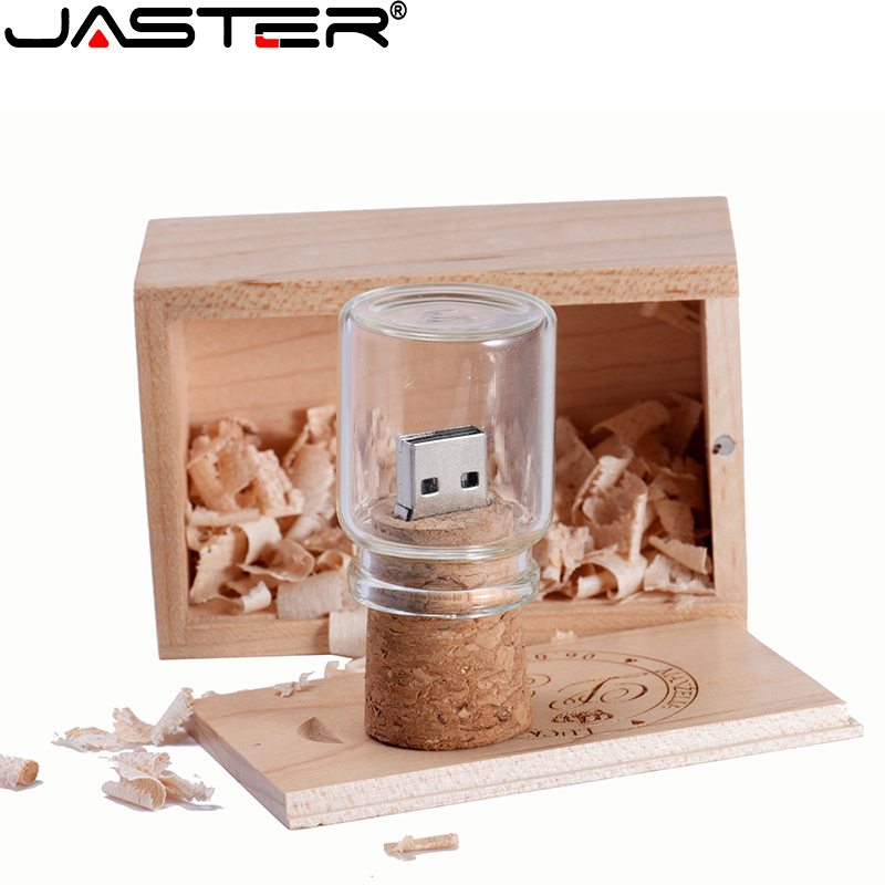 JASTER Glass Wish Bottles Pendrive USB 2.0 4GB 8GB 16GB 32GB 64GB Floating Bottle Usb Flash Drive Disk Memory Stick Wedding Gift
