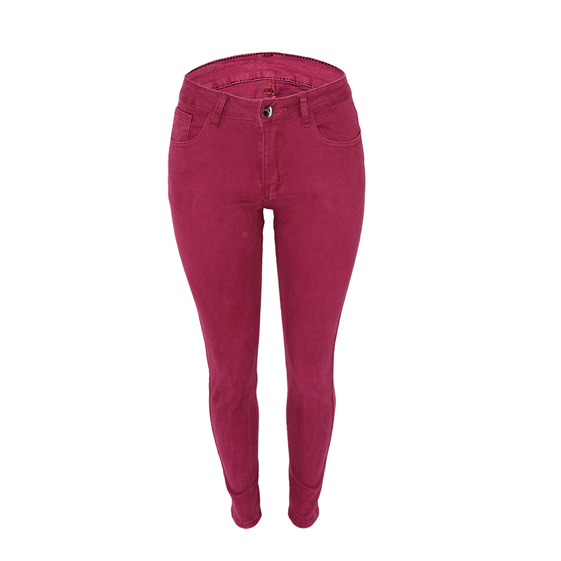 Low Waist Skinny Jeans Free Of Cracks  Pure Color Sexy Pencil Pants Cotton Long Women  Jeans