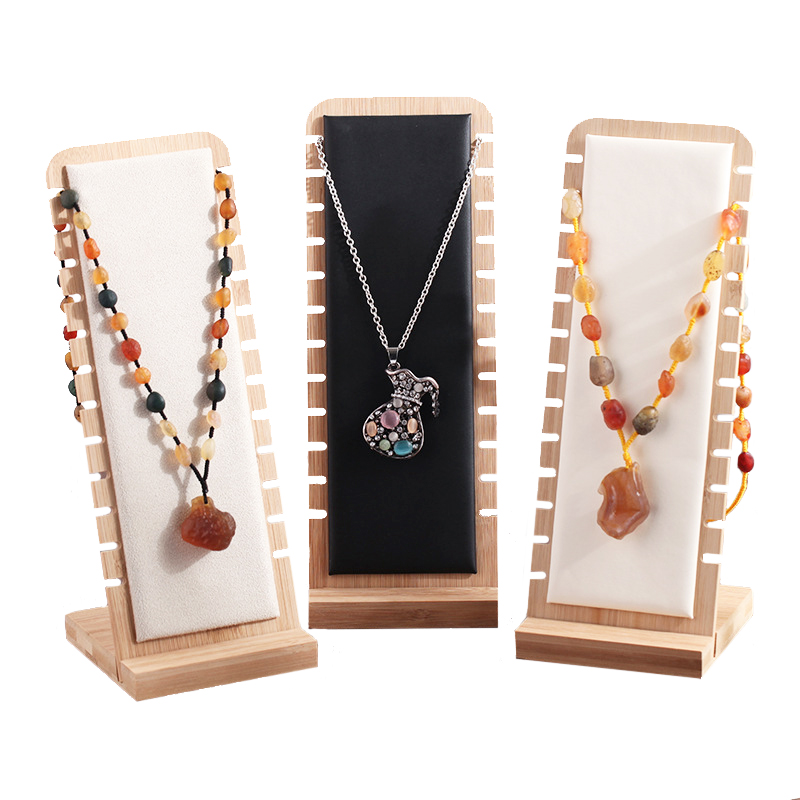 Bamboo Jewelry Display Collection Necklace Display Stand Bracelets Pendant Storage Shelf Holder Showcase Organizer