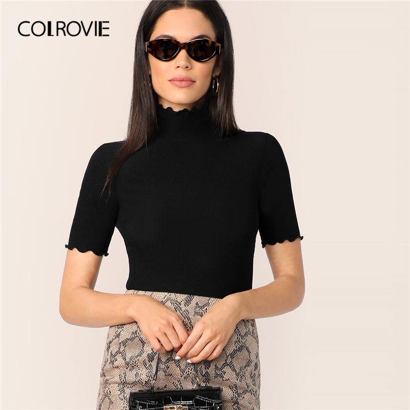 COLROVIE Lettuce Trim Form Fitted Rib-knit T-shirt Women Short Sleeve Casual Tops 2019 Female High Neck Elegant T-shirts