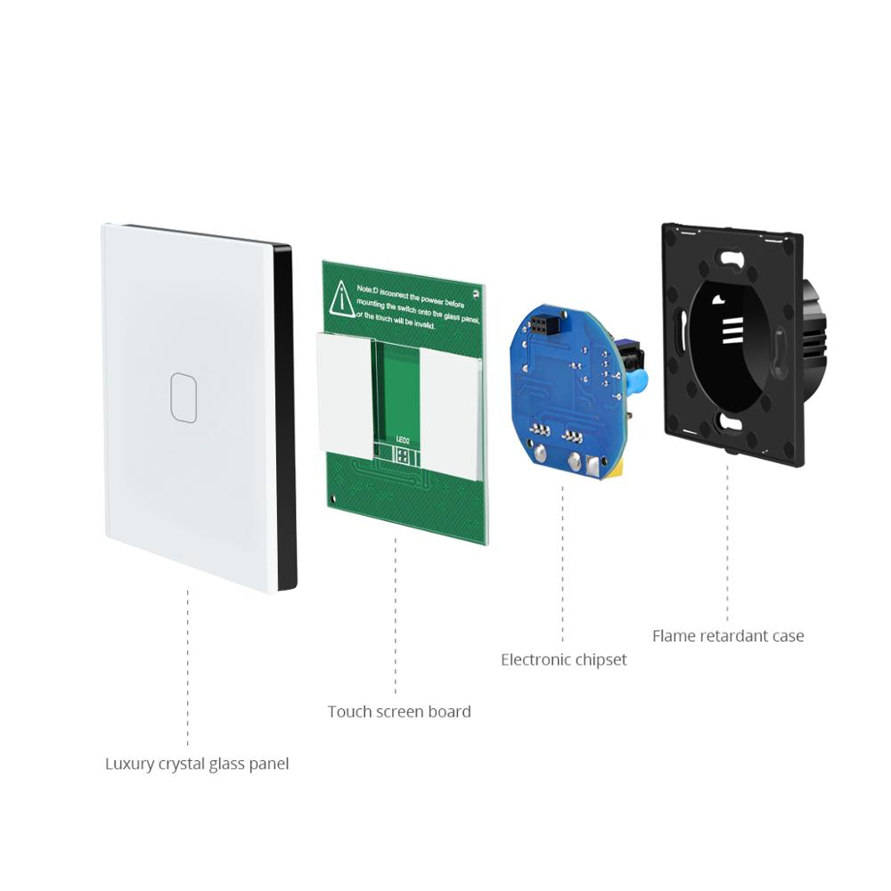 Image 4 - 1/2/3 Gang 1 Way Touch Switch LED Light Switch Touch Screen Switch Wall Recessed Glass Panel Control AC 220V EU UK interruptor-in Switches from Lights & Lighting