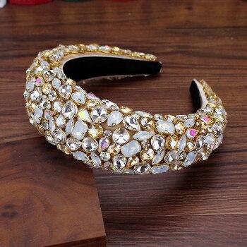 Boho Gorgeous Full Diamante Padded Baroque Headbands Luxury Crystal Hairbands For Women Rhinestone Tiara Bling Hair Accessories