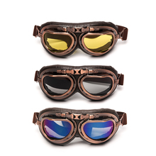 Triclicks Retro Motorcycle Goggles Windproof Glasses Pilot Vintage Oculos Classic For Harley Steampunk Bril