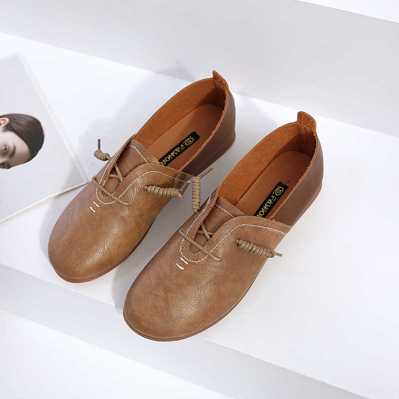 2019 Pretty Oxford Schoenen Vrouwen Flats Casual Loafers Ballerina Stiksels Lederen Mocassins Lente Zomer Mocassin Zapatos Mujer
