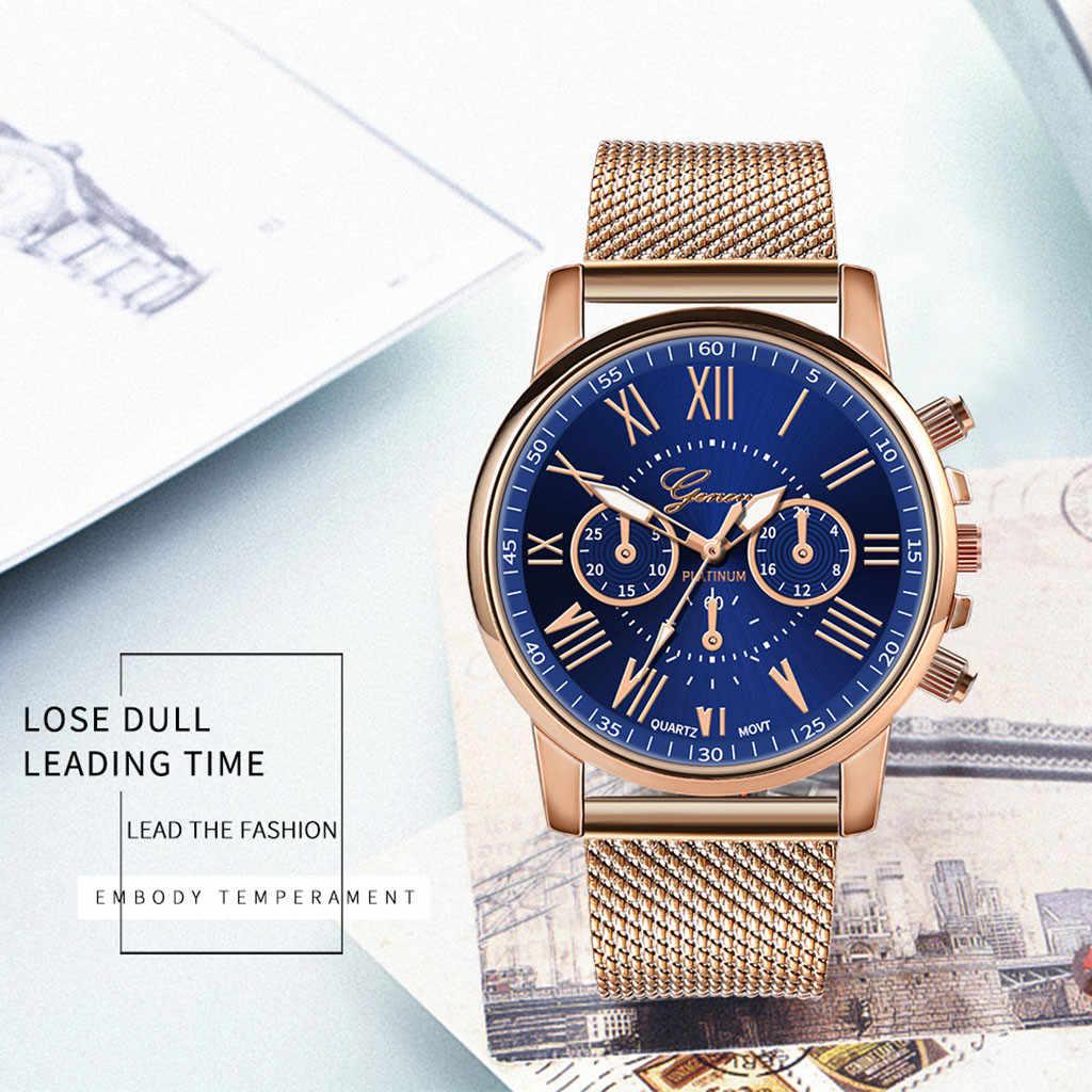 女性腕時計高級女性はロマンチックなギフトステンレス鋼革バンドクォーツ腕時計ブレスレットリロイやつリロイmujer %