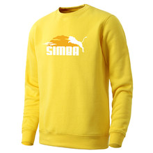 Mens Simba Cartoon Printing Hoodie 2020 Long Sleeve Fashion Pullovers Streetwear Spring Clothing Round Neck Male Autumn Homme(China)