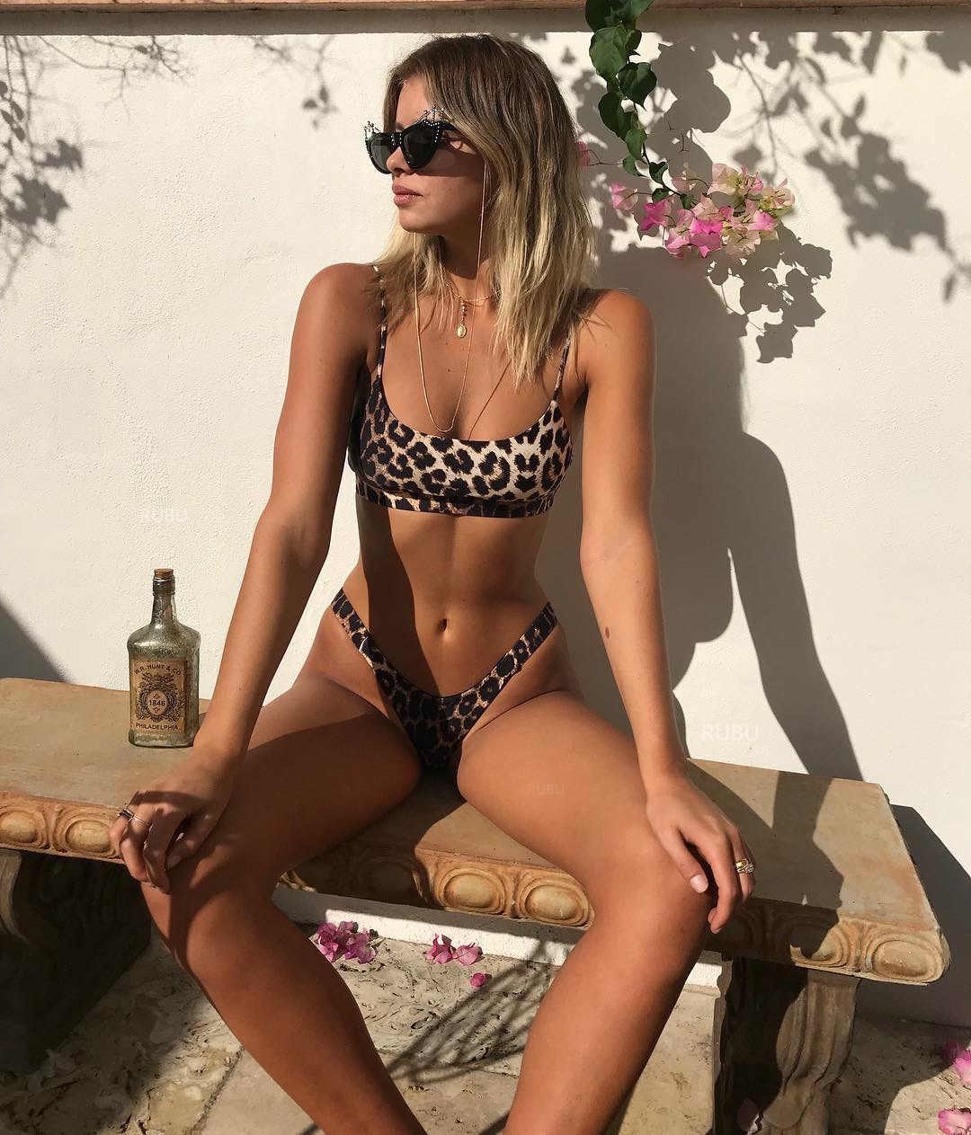 Leopard Serpentine Print Bikini Sets Gewatteerde Vrouwelijke Badpak Bikini Sexy Vrouwen Badmode Lage Taille Zwemmen Badpak Zomer