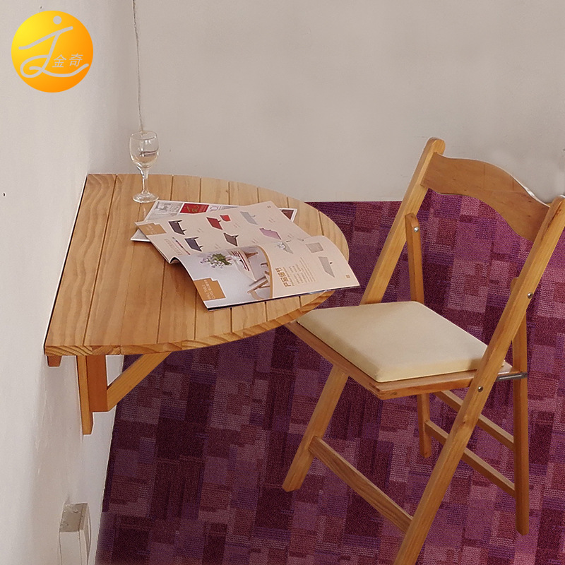 Wood Semicircle Folding Table Wall Hangers Table Rectangular Simplicity Wall Table Wall Hangers Desk Computer Table