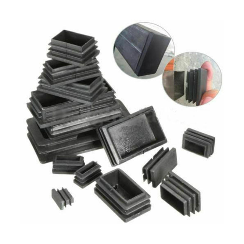 40pcs Black Plastic Blanking End Caps Rectangular Pipe Tube Cap Insert Plugs Bung For Furniture Tables Chairs Protector